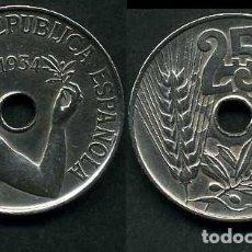 Monedas República: ESPAÑA 25 CENTIMOS DE PESETA DE 1934 ( MUJER CON UNA RAMA DE OLIVO ) MONEDA DE LA II REPUBLICA )Nº19. Lote 73515141