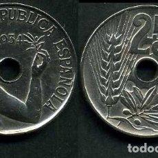 Monedas República: ESPAÑA 25 CENTIMOS DE PESETA DE 1934 ( MUJER CON UNA RAMA DE OLIVO ) MONEDA DE LA II REPUBLICA )Nº20. Lote 73515142