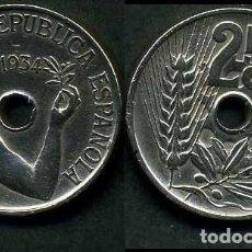 Monedas República: ESPAÑA 25 CENTIMOS DE PESETA DE 1934 ( MUJER CON UNA RAMA DE OLIVO ) MONEDA DE LA II REPUBLICA )Nº21. Lote 73515149