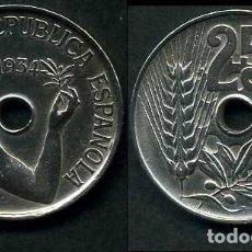 Monedas República: ESPAÑA 25 CENTIMOS DE PESETA DE 1934 ( MUJER CON UNA RAMA DE OLIVO ) MONEDA DE LA II REPUBLICA )Nº22. Lote 73515153
