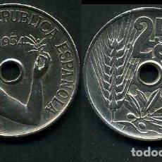 Monedas República: ESPAÑA 25 CENTIMOS DE PESETA DE 1934 ( MUJER CON UNA RAMA DE OLIVO ) MONEDA DE LA II REPUBLICA )Nº23. Lote 73515157