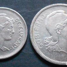 Monedas República: 1 PTA. + 2 PTAS. 1937 GOBIERNO DE EUZKADI REPÚBLICA. Lote 72883371