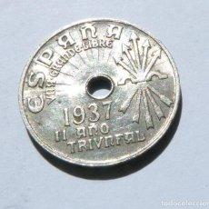 Monedas República: MONEDA DE 25 CENTIMOS SEGUNDA REPÚBLICA AÑO 1937 CALIDAD CASI SIN CIRCULAR. Lote 169607296