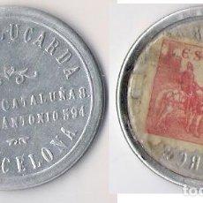 Monedas República: DISCO MONEDA REPUBLICA -SELLO 10 CTS. **RADIO LUCARDA - BARCELONA** EBC (DIFISIL ADQUIRIR). Lote 83432604
