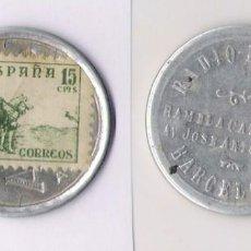 Monedas República: DISCO MONEDA REPUBLICA -SELLO 15 CTS. **RADIO LUCARDA - BARCELONA** EBC (DIFISIL ADQUIRIR). Lote 85330128