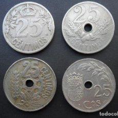 Monedas República: LOTE 4 MONEDAS DE 25 CÉNTIMOS DE 1925, 1927, 1934 Y 1937. Lote 87263072