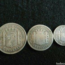 Monedas República: MONEDAS PLATA 1869, 50CNT,1PTS Y 2PPTS. Lote 90797848