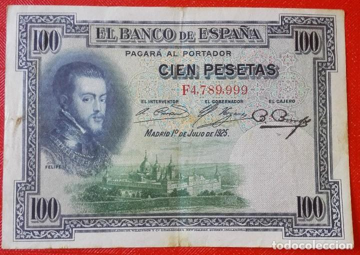 BILLETE DE ESPAÑA - 100 PESETAS - FELIPE II - AÑO 1925 - SERIE F (Numismática - España Modernas y Contemporáneas - República)