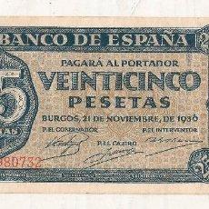 Monedas República: 25 PESETAS 1936. BURGOS . SIN CIRCULAR CON SERIE. Lote 95336767