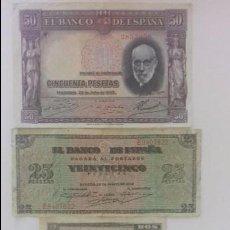 Monedas República: LOTE BILLETES DE 2,25 Y 50 PTAS. Lote 97889727