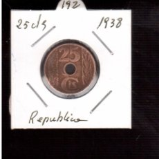 Monedas República: MONEDAS DE ESPAÑA REPUBLICA ------25 CTMOS 1938. Lote 98153967