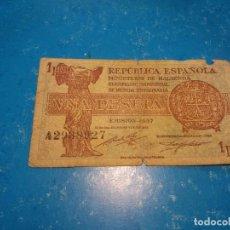 Monedas República: BILLETE DE 1 PESETA REPÚBLICA ESPAÑOLA 1937. Lote 98515759