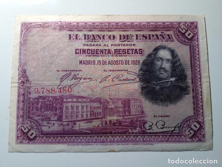 BILLETE 50 PESETAS 1928 SIN SERIE (Numismática - España Modernas y Contemporáneas - República)