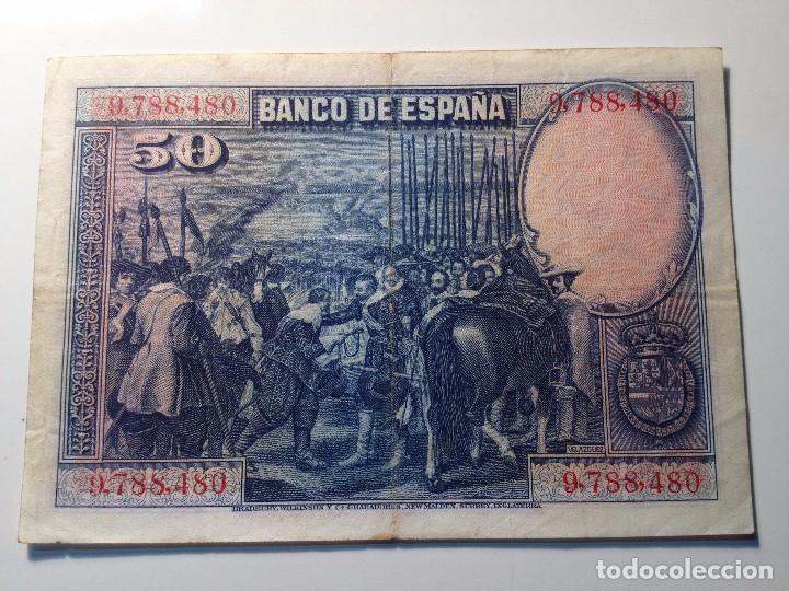 Monedas República: BILLETE 50 PESETAS 1928 SIN SERIE - Foto 2 - 98954511