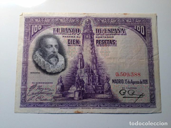 BILLETE 100 PESETAS 1928 SIN SERIE (Numismática - España Modernas y Contemporáneas - República)