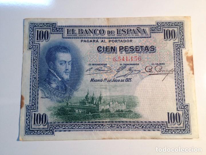 BILLETE 100 PESETAS 1925 SIN SERIE (Numismática - España Modernas y Contemporáneas - República)