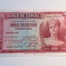 Monedas República: BILLETE 10 PESETAS 1935 EN BUEN ESTADO. Lote 98956579