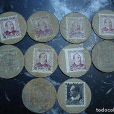 Monedas República: 10 MONEDAS EN CARTON CON SELLOS CORREOS REPUBLICA ESPAÑOLA. Lote 109360520
