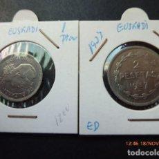 Monedas República: GOBIERNO DE EUSKADI, 1937, 1 PTAS Y 2 PTAS, . Lote 104075735