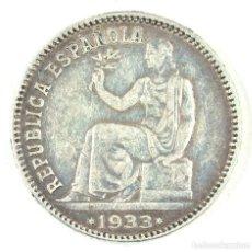 Monedas República: 1 PESETA 1933 II REPÚBLICA MADRID PLATA ESTRELLAS MUY BIEN (3-4). Lote 117400035