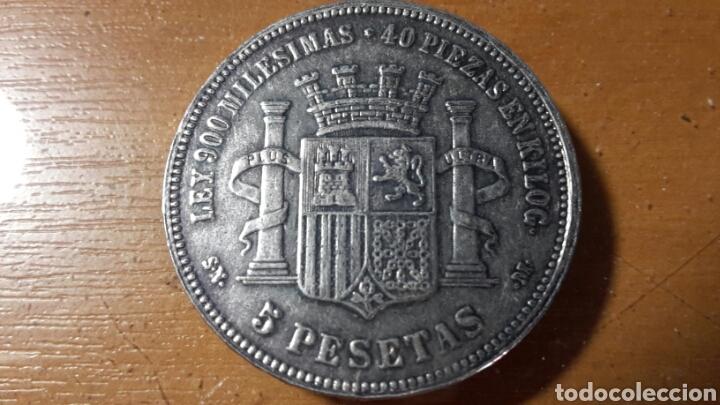 Monedas República: Duro 5 pesetas 1870 falso - Foto 2 - 117988859