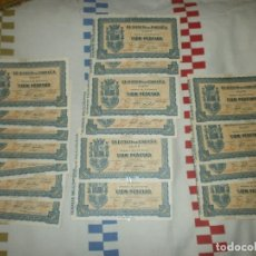 Monedas República: 34 BILLETES 100 PESETAS GIJÓN SEPTIEMBRE DE 1937 9 CORRELATIVOS Y PEGADOS - TODOS RAJADOS VER FOTOS. Lote 217111625