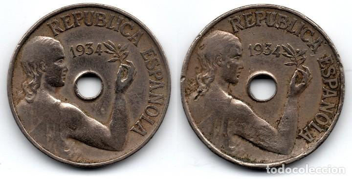 2 MONEDAS 25 CÉNTIMOS 1934 REPÚBLICA ESPAÑOLA (Numismatik - Moderne und zeitgenössische spanische Münzen - Zweite Spanische Republik)