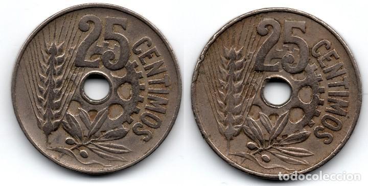 Münzen der Zweiten Republik: 2 monedas 25 céntimos 1934 República Española - Foto 2 - 119154055