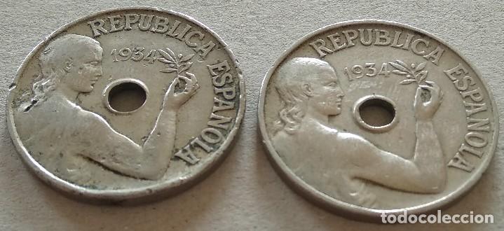 Münzen der Zweiten Republik: 2 monedas 25 céntimos 1934 República Española - Foto 3 - 119154055