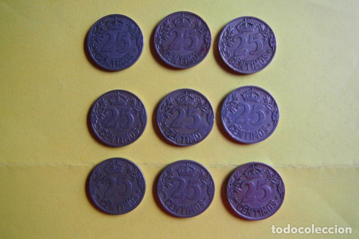 Monedas República: OFERTA. GANGA. LOTE 9 MONEDAS REPÚBLICA ESPAÑOLA 25 CÉNTIMOS. AÑO 1925. CARAVELA. VER FOTOGRAFIAS - Foto 6 - 119978759