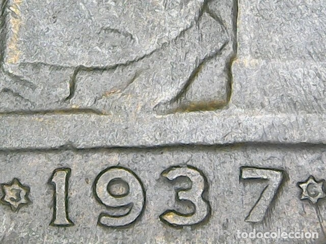 MUY RARA ASI, MONEDA DE 50 CENTIMOS AÑO 1937 DE LA REPUBLICA ESPAÑOLA. 1937*3*6 ESTRELLAS PERFECTAS (Numismática - España Modernas y Contemporáneas - República)
