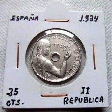 Monedas República: ESPAÑA - 25 CTS.1934 - AUTENTICA 100% - MUY ESCASA ASI – PRECIOSA. Lote 124419255