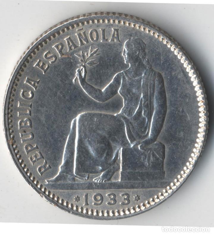 ESPAÑA 1 PESETA 1933 * 3 4 DAMA SENTADA KM.750 MONEDA DE PLATA DE LA REPÚBLICA ESPAÑOLA SC) (Numismatik - Moderne und zeitgenössische spanische Münzen - Zweite Spanische Republik)