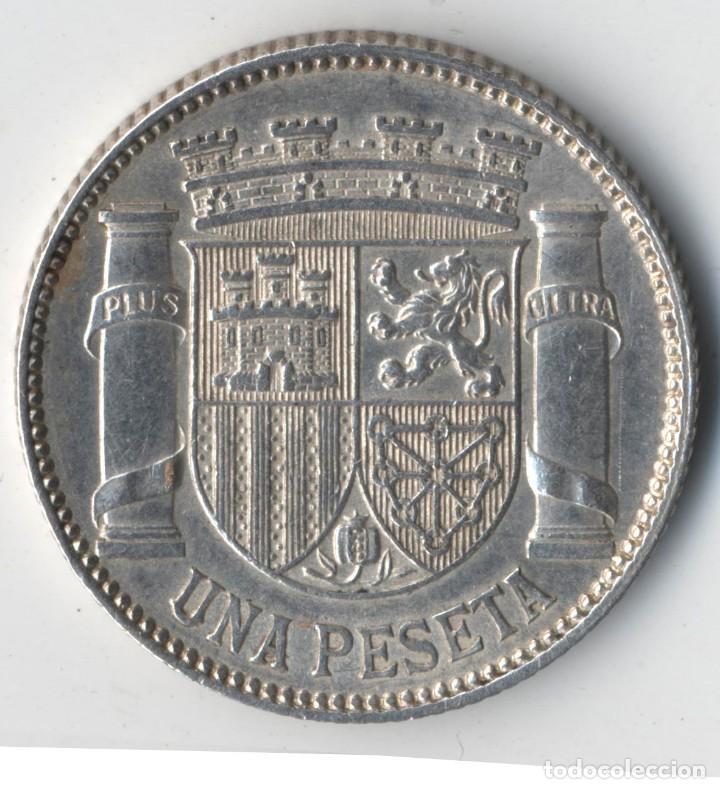 Münzen der Zweiten Republik: ESPAÑA 1 PESETA 1933 * 3 4 DAMA SENTADA KM.750 MONEDA DE PLATA DE LA REPÚBLICA ESPAÑOLA SC) - Foto 2 - 127175311