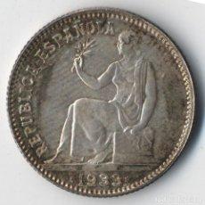 Monedas República: 1 UNA PESETA 1933 REPUBLICA PLATA (SIN CIRCULAR). PÁTINA ORIGINAL ¡¡¡BELLA!!!. Lote 130230538