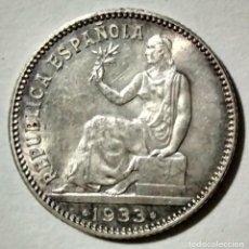 Monedas República: II REPUBLICA. 1 PESETA. 1933. MADRID. ESTRELLA 34. REVERSO GIRADO 180º. MUY RARA.. Lote 134061546