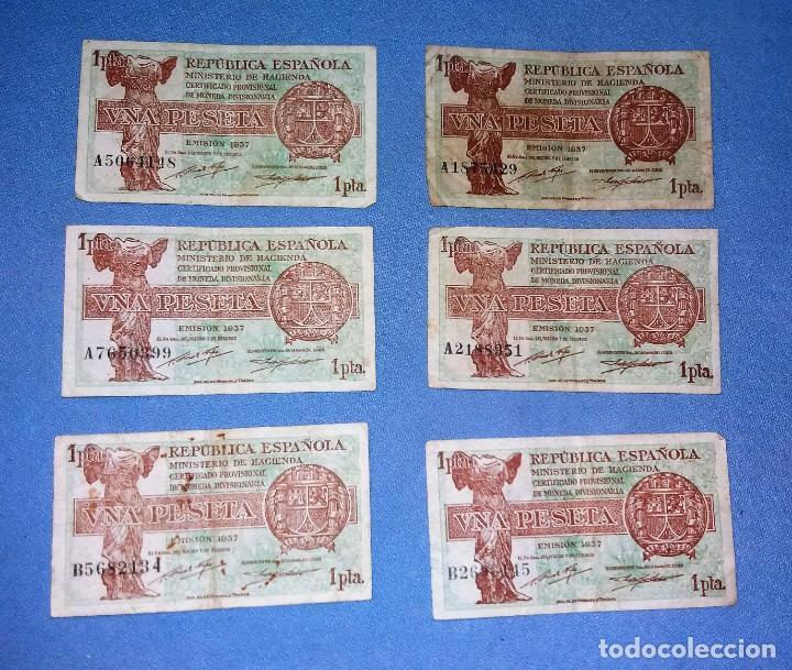 LOTE DE 6 BILLETES DE 1 PESETA AÑO 1937 REPUBLICA ESPAÑOLA AUTENTICOS VER FOTOS Y DESCRIPCION (Numismática - España Modernas y Contemporáneas - República)