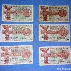 Monedas República: LOTE DE 6 BILLETES DE 1 PESETA AÑO 1937 REPUBLICA ESPAÑOLA AUTENTICOS VER FOTOS Y DESCRIPCION. Lote 134431226