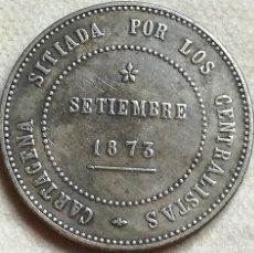 Monedas República: RÉPLICA MONEDA REVOLUCIÓN CANTONAL, CARTAGENA, I REPÚBLICA ESPAÑOLA. 5 PESETAS. 1873. Lote 136043142