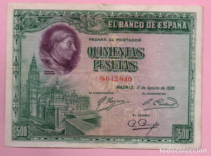 BILLETE ESPAÑA - 500 PESETAS 1928 (Numismática - España Modernas y Contemporáneas - República)