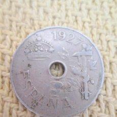 Monedas República: ALFONSO XIII. PRIMERA MONEDA PERFORADA DE 25 CÉNTIMOS. 1927. Lote 137233470