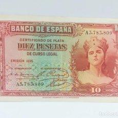 Monedas República: BILLETE DE DIEZ 10 PESETAS CERTIFICADO DE PLATA 1935 SERIE A - BUEN ESTADO. Lote 137459594