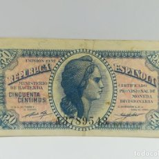 Monedas República: BILLETE DE 50 CENTIMOS REPUBLICA ESPAÑOLA 1937 SERIE A - BUEN ESTADO. Lote 137460698