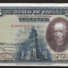 Monedas República: R60.BAUL_2/ ESPAÑA, BILLETE DE 25 PESETAS, SIN CIRCULAR, 15 DE AGOSTO DE 1928. Lote 138683626