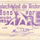 Monedas República: RARA MONEDA BILLETE LOCAL 5 ENTEROS ORIGINAL ANDORRA (TERUEL) 1936 GUERRA CIVIL. Lote 139085466
