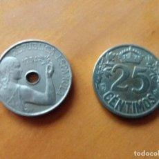 Monedas República: LOTE DE 2. MONEDA REPÚBLICA ESPAÑOLA. 1934. ALFONSO XIII. 1925. BARCO. 25 CÉNTIMOS. BUEN ESTADO.. Lote 139710838