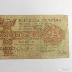 Monedas República: REPUBLICA ESPAÑOLA BILLETE DE 1 PESETA, EMISION 1937-- SERIE -- A6425323 -- LOTE 6 . Lote 141196294