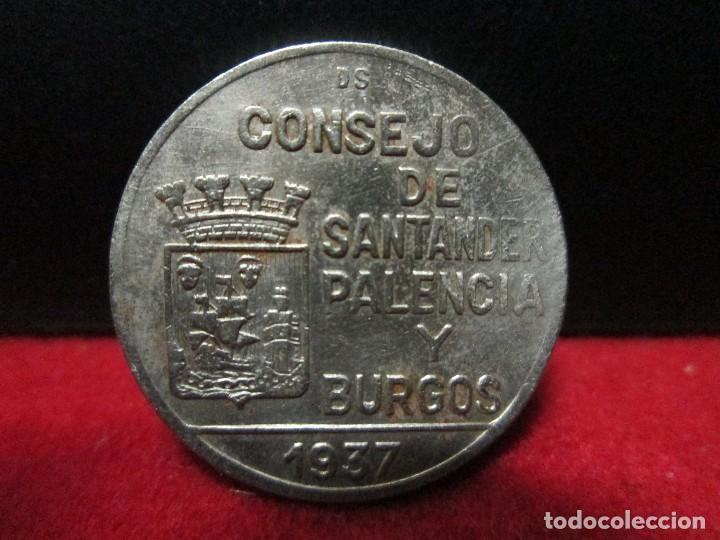 Monedas República: 1 PESETA 1937 CONSEJO SANTANDER PALENCIA Y BURGOS - Foto 2 - 146573382