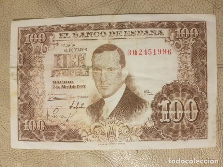 BILLETE DE ESPAÑA DE 100 PESETAS DE 1953 SERIE 3Q CIRCULADO JULIO ROMERO DE TORRES (Numismática - España Modernas y Contemporáneas - República)