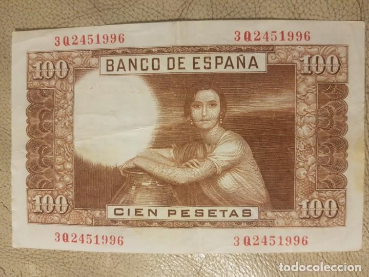 Monedas República: BILLETE DE ESPAÑA DE 100 PESETAS DE 1953 SERIE 3Q CIRCULADO JULIO ROMERO DE TORRES - Foto 2 - 147632062